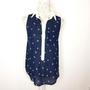 Altar'd State XS nautical print high low blouse
